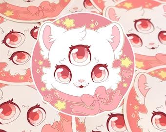 Kawaii 3 Eyed Cat Sticker ( cute chibi stickers pastel )