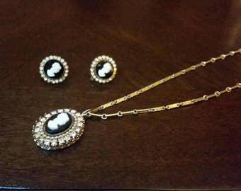 Vintage cameo earrings and necklace set