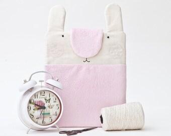Fluffy iPad Case, Bunny iPad Sleeve, iPad Air 2 Case, Pink ipad pro 9.7 case, iPad Pro Sleeve, Best Gift for kids, Pink Bunny Bag