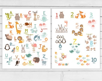 Set of 2 Alphabet wall art Alphabet animals Animal numbers Alphabet poster wall decal ABC poster Nursery decor DIGITAL PRINTABLE 8x10