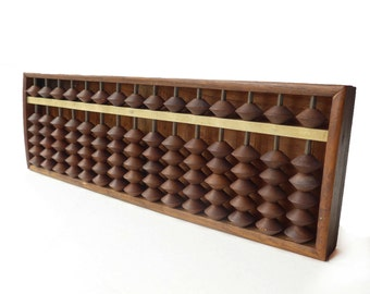 VINTAGE 1950s, Wooden Abacus , Soroban , Japanese Wood Abacus , Made of Solid Wood , 15 Rod , Made in Japan , Collector , Traditional