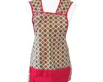 Vintage Full Apron Red Trim with White Diamond Pattern Divided Pocket Mid Century Bib Apron