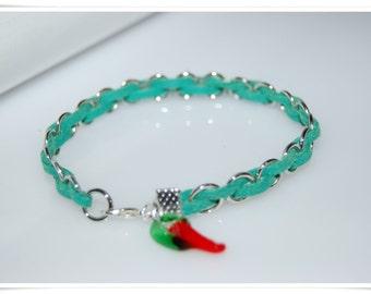 Braided bracelet vegan bracelet green hot chilly bracelet green velvet string velvet band Green trend 2017