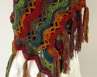 Handmade Shawl, Crochet Shawl, Super Scarf, Colorful Wrap, Rainbow Wrap, Boho Style, Fringe, Breastfeeding Privacy Cover