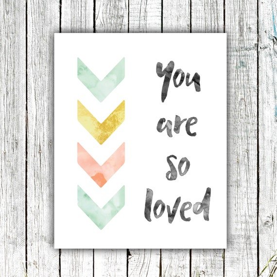 Nursery Wall Art, You are so Loved,Mint and Gold, Digital Download #586