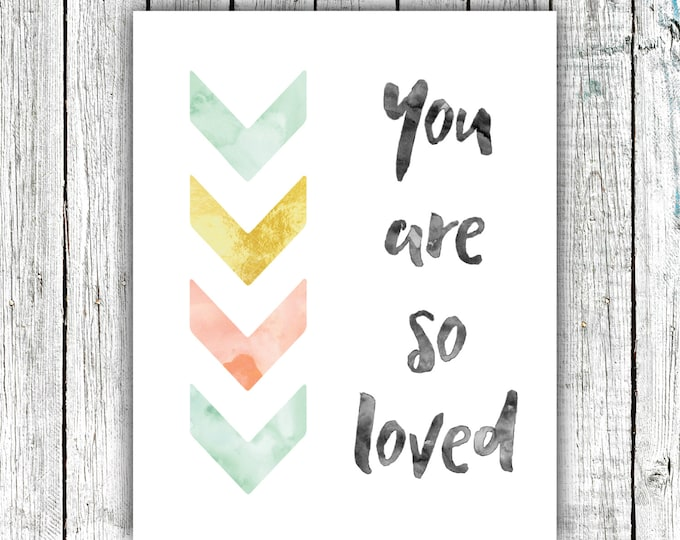 Nursery Wall Art, You are so Loved,Mint and Gold, Digital Download Size 8x10 #586