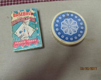 Vintage Warren Paper Products Baseball Card Game Playing Cards & Deck of Round Playing Cards in Original Case