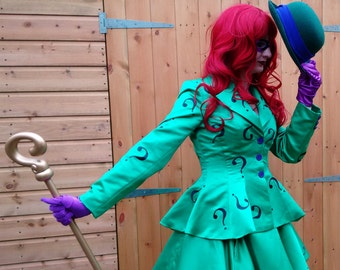 Femme Riddler Lolita Cosplay Batman - Hand Made To Order - DISPATCH FROM JANUARY 2018- Jacket and Skirt Costume