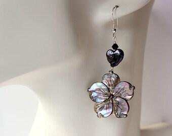 Abalone Plumeria Heart Pearl Earrings, Frangipani Abalone Heart Pearl Earrings, Hawaiian Plumeria Pearl Earrings, Paua Plumeria Earrings