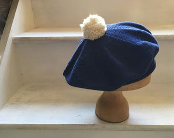 Royal blue beret, knitted pompom beret; cotton knit tam, women's blue beret