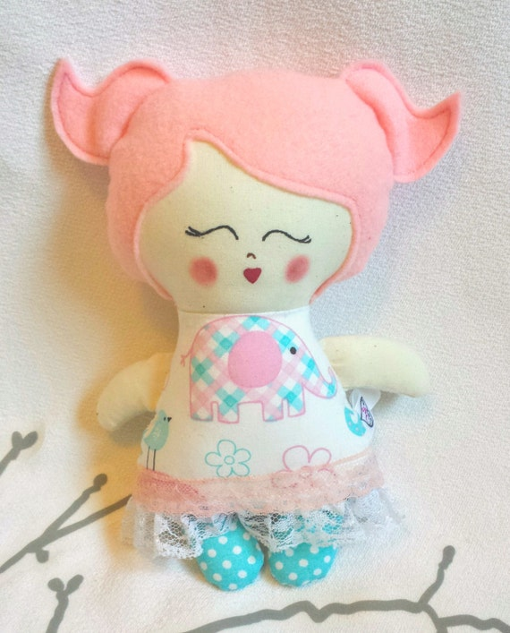 Little Cloth Doll Rag Doll Pink And Blue Pink Hair Hand