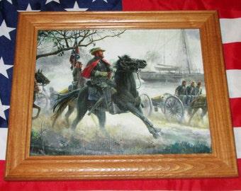 Civil War Painting, Mort Kunstler, Confederate JEB STUART vs USS Marblehead