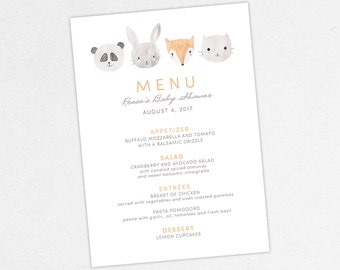 Woodlands Baby Shower Menu, Neutral Baby Shower, Boy Baby Shower, Printable  Menu,
