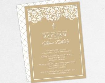 Girl Baptism Invitation, Christening Invitation, Printable Baptism Invitation, PDF Invite, DIY Invite, Lace, Floral, Damask, Kraft, Maura