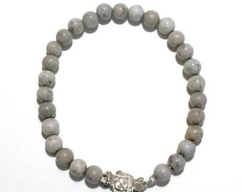 Feldspar Beaded Bracelet with Sterling Silver Floral Design Pearl Clasp