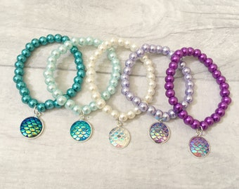 Mermaid Bracelets, Party Bracelets, Girls Bracelet, Party Gift, Party Favours, Loot Bags, Party Bag Fillers, Mermaid Party, Under the Sea