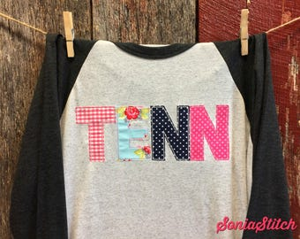 Tennessee Baseball Tee - TENN shirt - TN shirt - TENN Baseball Tee with multi color applique