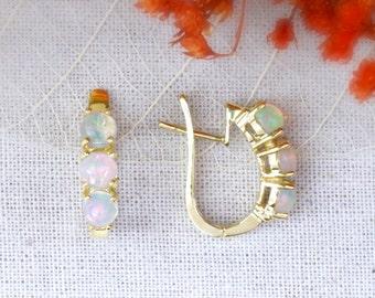 Opal Huggie Earrings | Three Stone Hoop Earrings | Round Opals | Prong Setting | Solid 14K Gold | Fine Jewelry | Free Shipping