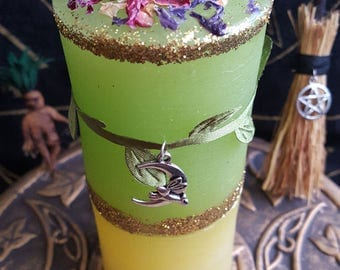 Candle Ostara mother earth/money/protection/new beginning/fate/love/lust/desire /