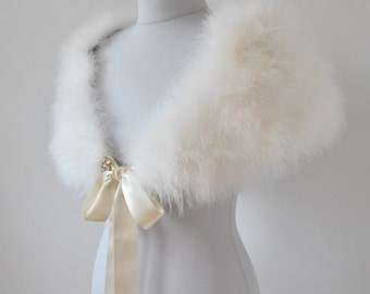 Vintage Inspired Genuine Marabou feather Bridal Shrug/Wrap