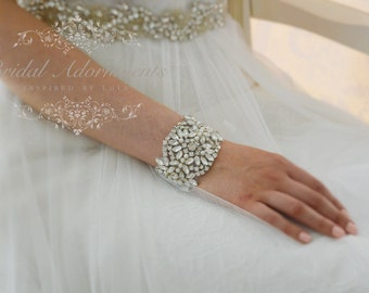 EVERLY Crystal and Soft Ivory Pear Bridal Cuff / Bracelet