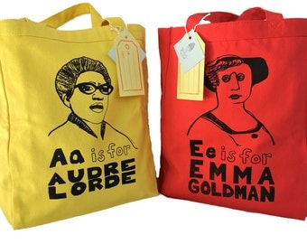 Feminist Tote Bag Sale // 15% OFF Set of 2: Gift Pack- choose 2 - FREE SHIPPING // Audre Lorde, Frida Kahlo, Simone de Beauvoir,