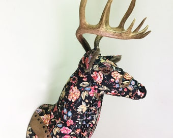 Fiesta De Flores Mount - Upholstered Faux Taxidermy Deer Head - Black Colorful Floral Fabric - Fake Antlers