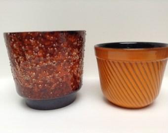 1950s Erica planters orange glaze
