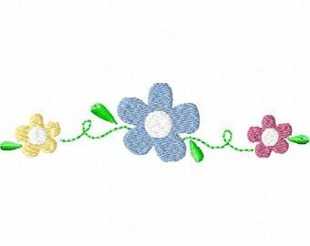 Machine Embroidery Flower Scroll Design