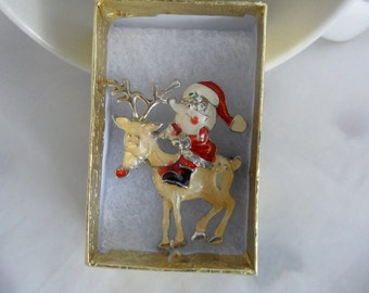 Vintage Rudolph the Red Nosed Reindeer Christmas Brooch Santa Claus Kitsch 1950s Christmas Decorations Christmas Jewelry Stocking Stuffer