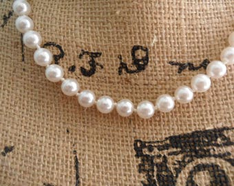 Vintage Fake Pearl Necklace Fake Pearls Faux Pearls Glass Pearl Beads Knotted White Pearl Necklace Faux Pearl Necklace 19 Inch White Pearls