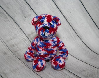 Patriotic Bear/Crochet Bear/Red White and Blue Crochet/Christmas Gifts/Flag Color Bears/Crochet Toys/4th of July/Veterans Gifts/