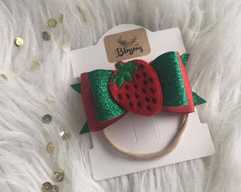 Girls Red and Green Glitter Strawberry Bow/Headband/Clip | Girls Summer Bow/Headband | Strawberry Picking Bow/Headband