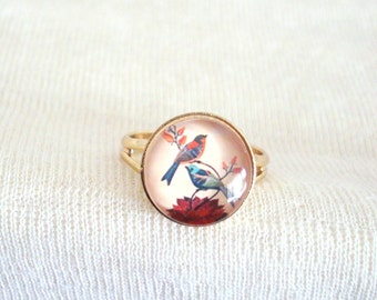 Vintage Birds Ring, Romantic Jewelry, Little Bird Ring, Feminine Jewelry