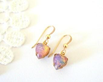 Dainty Opal Earrings, Little Heart Earrings, Fire Opal Earrings, Vintage Glass Jewelry, Old Hollywood Style, Gold Earrings, Gift for Her