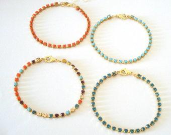 Dainty Bohemian Bracelet, Turquoise Rhinestone Bracelet, Elegant Tennis Bracelet, Hollywood Glamour, Gift for Her