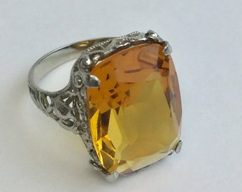 REDUCED!! Gorgeous White Gold Filigree Lovebird Ring With 7.75 Carat Faux Citrine Size 5.5