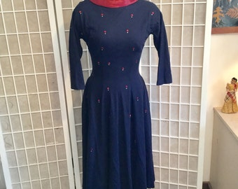 Vintage 1950s Thin Wool Dress with Decorations