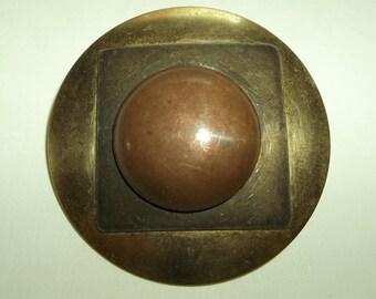 Vintage Multi Metal 3-D Brass Brooch