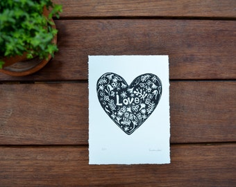 Love   Original Linocut Relief Print