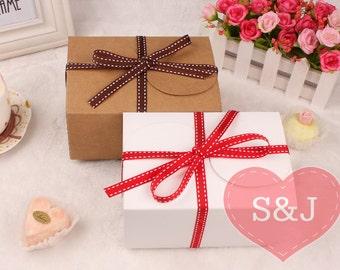 10 BROWN/WHITE 15x10x8cm Cardboard Kraft Boxes