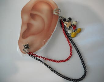 Mouse Ear Cuff with Red & Black Chains