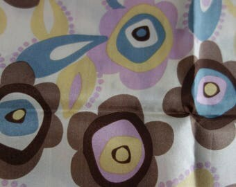 Retro patterned silk scarf In browns yellows pinks etc