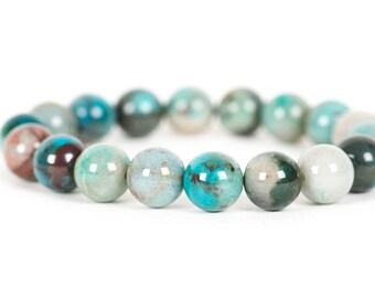 Azurite Malachite Gemstone Bracelet, Genuine 10mm Azurite Malachite Gemstone, Handmade Jewelry, Gemstone Bracelet,  Gemstone Jewelry