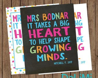 Teacher Appreciation Print - End of Year Teachers Gift - Personalised Teachers Gift - A Big Heart - Printable File!
