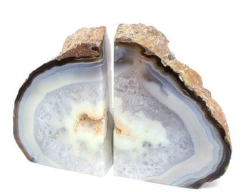 Geode Book end Natural Agate Bookend Pair - 1 to 3 lb - Geode Bookend - Home Decor - Crystal and Stones BKE