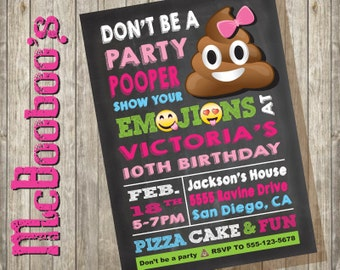 Emoji Party Pooper Girl Birthday Invitation with large poop on a chalkboard background