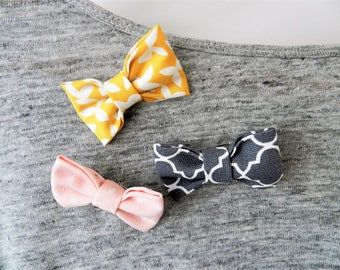 Bow Brooches| Fabric Bow| Children's Bow| Kids Jewelry| Brooch| Brooches| Grey, Yellow and Pink| Birthday Brooch