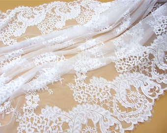 white Chantilly flower Lace Fabric sell by yard in pure white for Bridal Gowns, Mantilla  Veils,snow white eyelash lace
