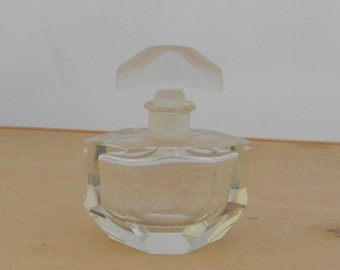 Vintage Vanity Satin And Cut Old Glass Perfume Bottle & Stopper